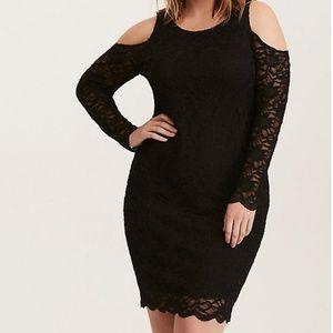 Torrid black lace bodycon dress
